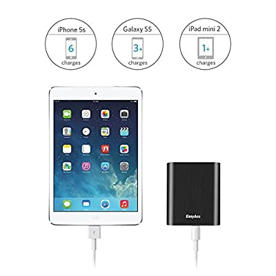 EasyAcc Metal 10400mAh Power Bank Portable External Battery Charger for iPhone iPad Samsung Smartphones - Black by EasyAcc