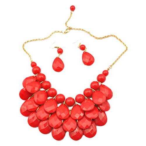 SWEETIME Layred Dangling Bubble Statement Bib Necklace and Earring Set Drop Shape Jewelry (Red)