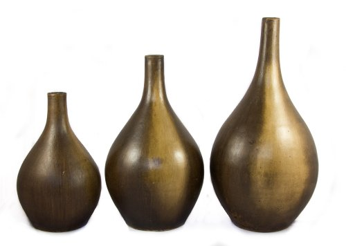 Ceramic Set of 3 Drop Vases - Fair trade and handmade in Mexico - Indoor or outdoor use H46cm H35 H29cm