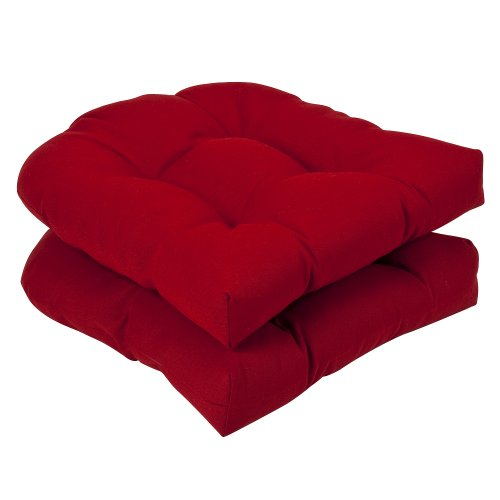 Pillow Perfect Indoor/Outdoor Red Solid Wicker Seat Cushions, 2-Pack picture