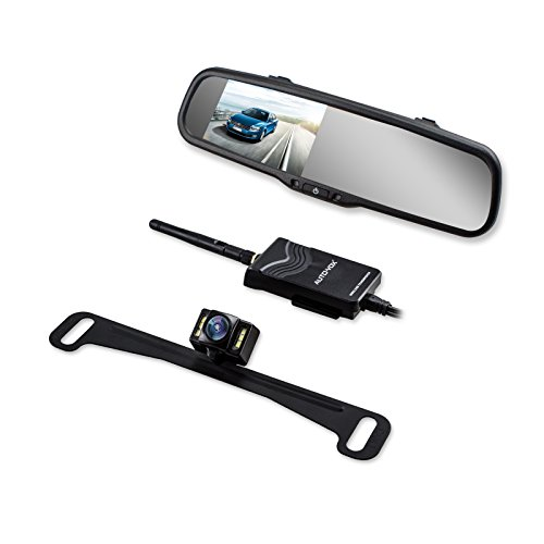 AUTO-VOX-Wireless-Backup-Camera-Kit-with-HD-Rearview-Mirror-Monitor-and-IP-68-Waterproof-LED-Super-Night-Vision-License-Plate-Rear-View-Camera