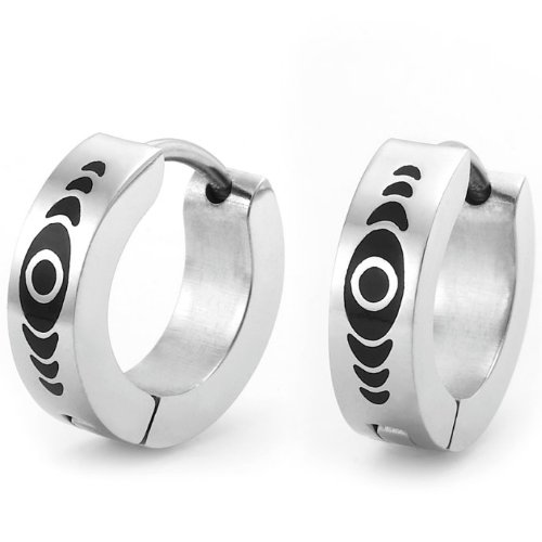 Quality Abstract Design Stainless Steel Hoop Earrings for Men Silver Black