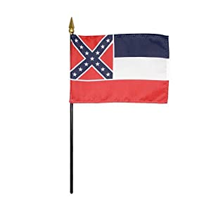 """Mississippi 1894 State Hand Held Desk Table Top Polyester Flag 4"""" X 6"""" on 10"""" Black Plastic Staff with Gold Spear Tip (12 Pack)"""