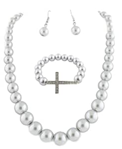 Ladies Silver Simulated Pearl Style Necklace Earrings and Matching Cross Bracelet Jewelry Set