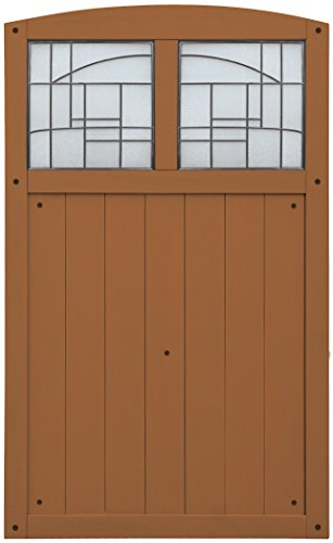 Yardistry Gate with Faux Glass Inserts, Amber, 42-Inch by 68-Inch