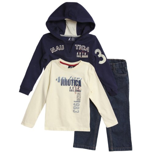 Nautica Toddler Boys 3 Piece Navy Blue Pullover Ho