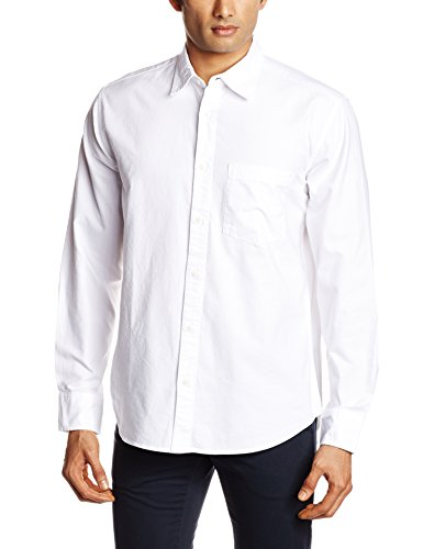 XESSENTIA Men's Casual Oxford Shirt in Regular Fit (XCASSH001_Large_White)