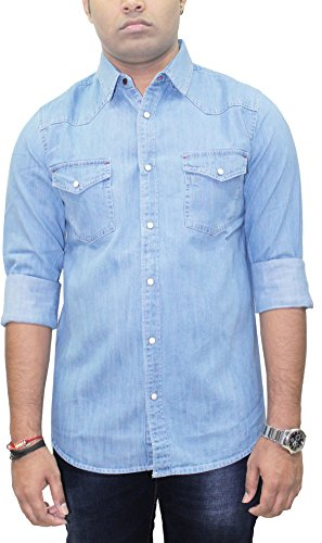 AA' Southbay Men's Icewash Denim Long Sleeve Western Casual Party Shirt Cum Jacket with Marble Buttons