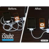 CableJive iStubz Sync and Charge Cable for iPod, iPhone, iPad (White - 7cm); Short iPhone 4, 4S, 3 Cable to Charge and Sync Without Tangle. Convenient, Durable and Low Price Cable for Travel, Office, and Home use. High Quality cable for use with iPhone 4 4/S.