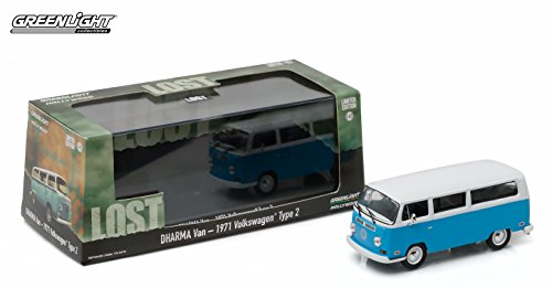 DHARMA VAN 1971 VOLKSWAGEN TYPE 2 from the classic television show LOST 2016 Greenlight Collectibles Limited Edition 1:43 Scale Die-Cast Vehicle & Custom Display Case