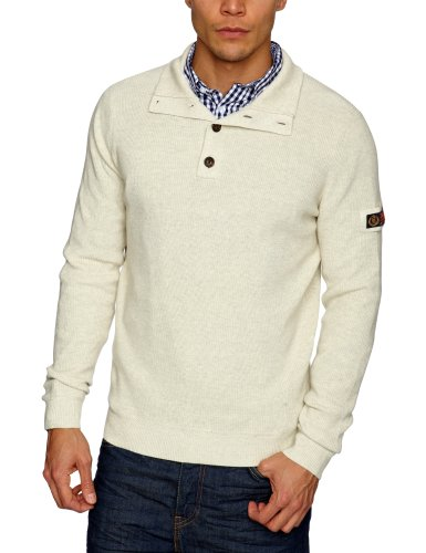Henri Lloyd Chine Regular Half Button Knit Men's Jumper Ecru Marl X-Large