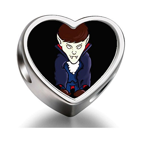 Rarelove Sterling Silver Halloween devil Heart Photo Charm Beads
