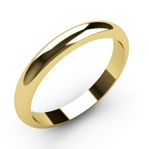 9ct Yellow Gold Wedding rings 3mm Width D Shaped Band Heavy Weight.