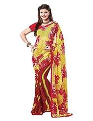 Indian Designer Sari Elegant Floral Printed Faux Georgette Saree By Triveni