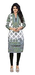 Stylish Girls Women Cotton Printed Unstitched Kurti Fabric (DT110_White_Free Size)