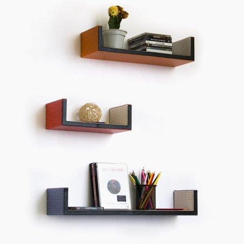 Trista - [Fantasy Land] U-Shaped Leather Wall Shelf / Bookshelf / Floating Shelf (Set of 3)