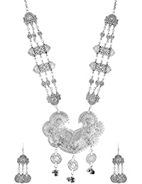Silver Shop Silver Alloy Multi-Strand Necklace Set For Women (MN-021)