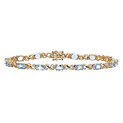 Ariel Women's Diamond and Blue Topaz Bracelet, 9ct Yellow Gold, Prong Setting 0.13 Carat Diamond Weight, Model PBC1193/BT