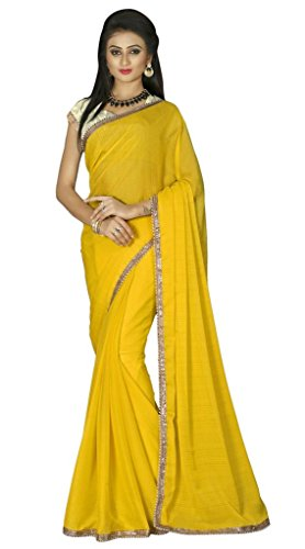 Kalashree Fashion Yellow Chiffon plain saree