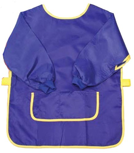 Creative Hobbies® Long Sleeve Art Smock With Front Pockets & Velcro Straps -Small Size for Kids up to Age 5 -Colors Vary Red or Blue Color