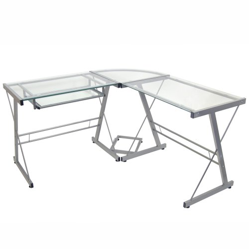 Walker Edison 3-Piece Contemporary Glass and Steel Desk