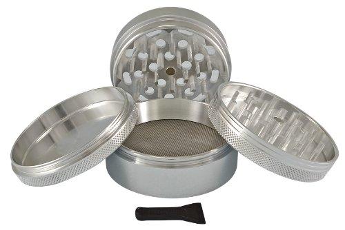 """Sharpstone® 2.5"""" Solid Top 4 Piece Grinder (Silver)"""