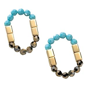 Linear Ring, turquoise/gold-plated, one size