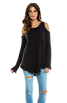 Elan Women's Cold Shoulder Waffle Knit Tunic Sweater