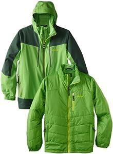 Marmot土拨鼠男童双层压胶防水透气三合一冲锋衣Gorge Component $100.24绿