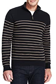 Pure Cotton Half Zip Striped Jumper [T30-5220B-S]