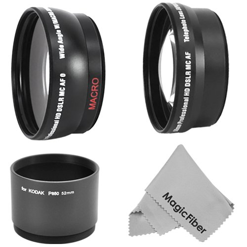 Essential Kit For Kodak Easyshare P850 P712 - Includes: 2.2X Telephoto And 0.43X Wide Angle High Definition Lens + Adapter Tube + Premium Magicfiber Microfiber Cleaning Cloth