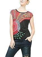 Desigual Camiseta Manga Corta Elvira (Negro / Rojo)