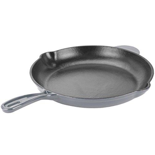 Zelancio 12 inch Cast Iron Enamel Grill Pan Skillet (Gray)