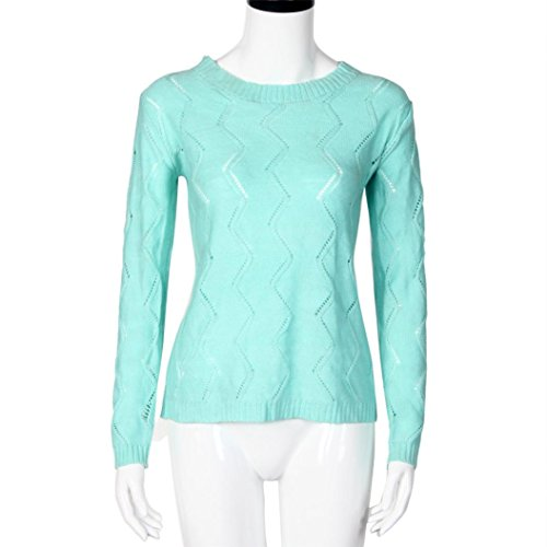 EKIMI Women Long Sleeve O Neck Loose Bowknot Cardigan Knitted Sweater (L, Sky Blue)