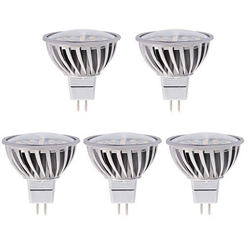 HERO-LED MR16 GU5.3 Low Voltage AC 10-18V/DC 10-30V Bi-Pin Base LED Halogen Replacement Bulb, For Use in Spot/Flood Reflector Lamps, Spotlights, Pathway Lights, Landscape Lighting, Pendant Lights, Recessed Lighting, Accent Lights, Novelty Lamps, Table/Desk Lamps, Cabinet Lights, Retail Lighting, Display and Track Lighting, Projector/Stage/Studio Light Bulbs, 120 Degree Beam Angle, 4.8W, 50W Equivalent, 5-Pack, Daylight White 5000K (Not Dimmable)