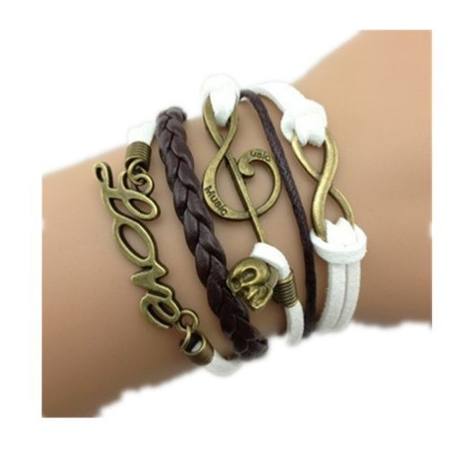Yu look(TM) Handmade Infinity Music Skull Love Brown White Leather Rope Wrap Bracelets Fashion Wristwear by Yu look(TM)