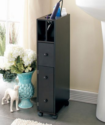 Black Bathroom Organizer Storage Cabinet Space Saver Rolling Wheels Compact with Shelves