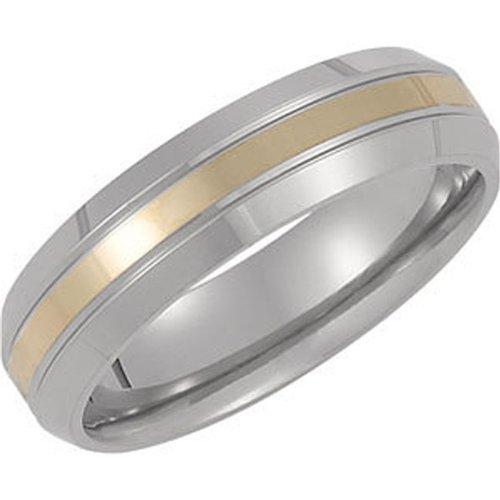 Titanium, Gold Inlay Domed Wedding Band (sz 6)