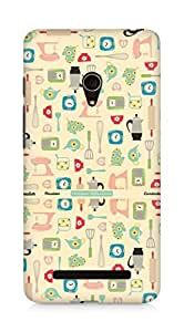 Amez designer printed 3d premium high quality back case cover for Asus Zenfone 5 (cute objects collage kitchen phone)