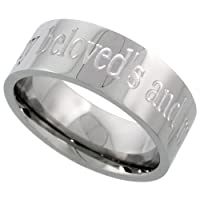 Stainless Steel 8 mm (5/16 in.) I am my beloveds and my beloved is mine Comfort Fit Flat Band (Available in Sizes 8 to 14)