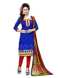 Subhash Sarees Daily Wear Blue Color Chanderi Salwar Suit Dress Material
