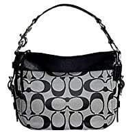 Coach Signature Zoe Shoulder Bag Black White