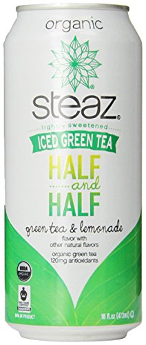 Steaz Regular Half and Half Green Tea with Lemonade, 16 Ounce (Pack of 12) (Lemon Soda Organic compare prices)