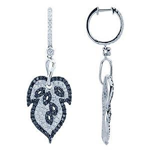 White and Black Pave Diamond Designer Leaf Earrings In 18K White Gold