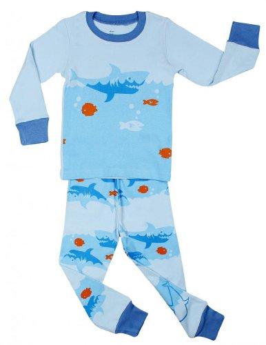 """Elowel Boys """"Shark Fish"""" 2 Piece Pajama Set 100% Cotton - 3 Toddler front-994387"""