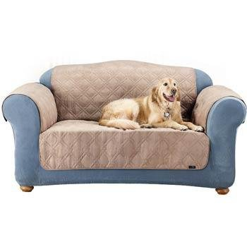 Sure Fit Quilted Suede Sofa Pet Throw, Taupe front-749211