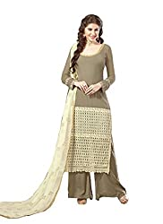 YOUR CHOICE Georgette Brown & Cream Embroideried Women's Straight Suit FLD1009