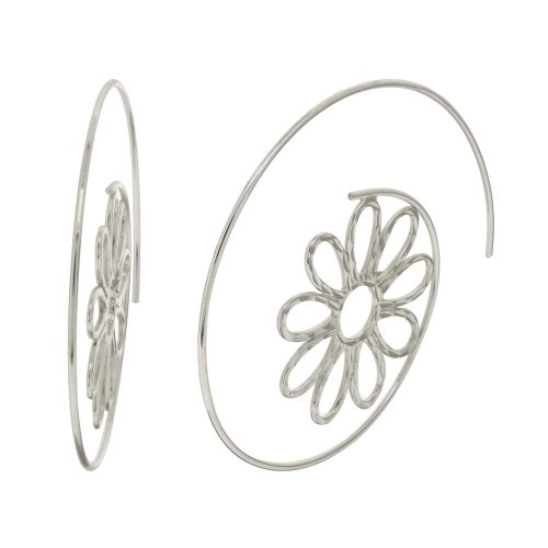 Sterling Silver Daisy Threaded Hoop Earrings (1.8