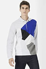 Long Sleeve Slim Fit Geometric Shape Mini Pique Polo