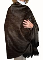 Super Soft Baby Alpaca Wool Reversible Shawl Wrap Cape Muted Ochre Color